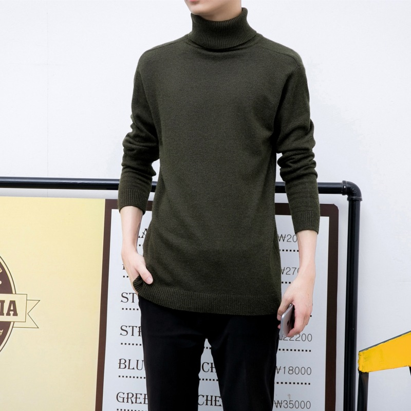 New arrival Classic Winter Men Smart Casual long sleeve T-shirt men Turtleneck Solid Color knitted Sweater Tops Tees 092001