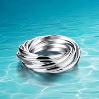 Mujeres anillo de plata de ley 925; genuina joyería de plata sólido puro; el diseño de múltiples capas, al por mayor Aceptable; Nueve anillos
