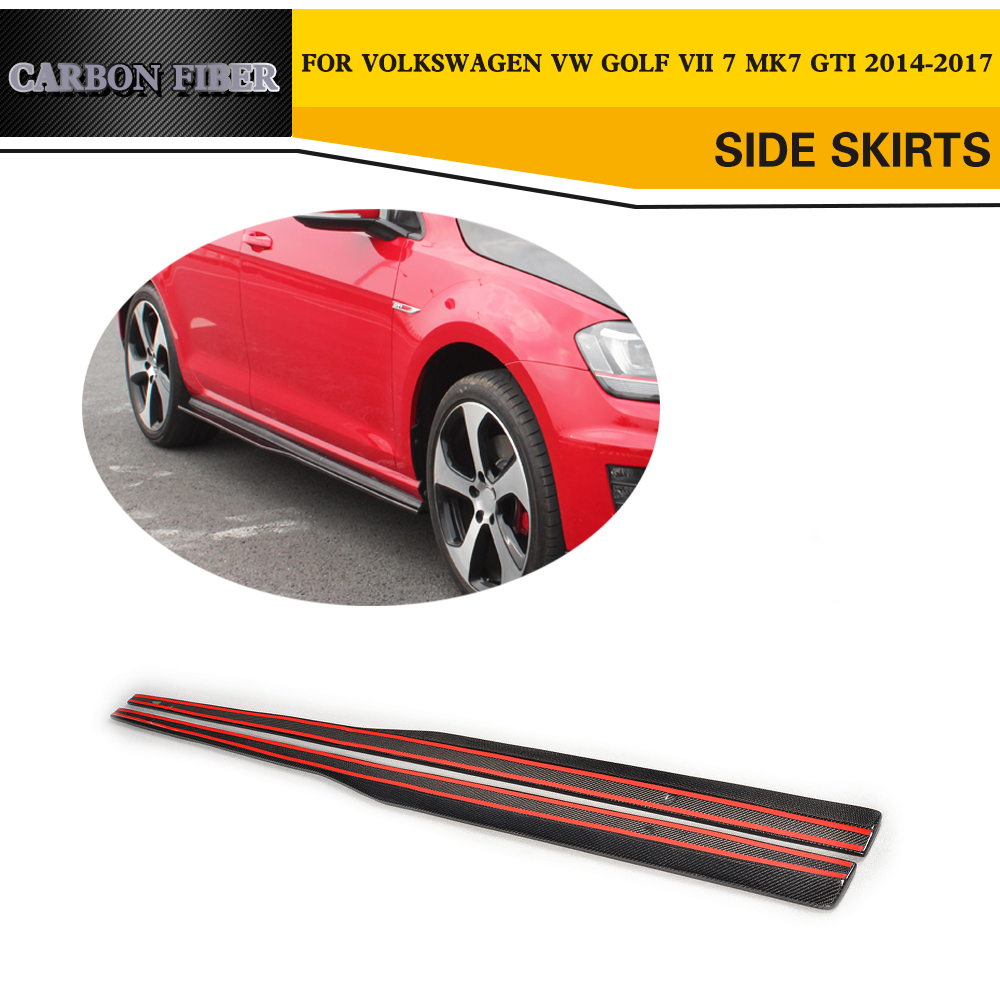 Carbon Fiber Car Side Skirts Lip for VW Golf VII MK7 GTI Hatchblack 2014-2017 real carbon fiber mirror cover case for vw golf 7 mk7 gti tsi vii jdm 2013 2015 [1031001]