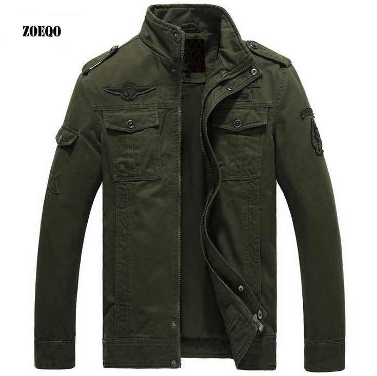 ZOEQO bomber jacket man spring autumn coats Military outwear Stand collar Jacket