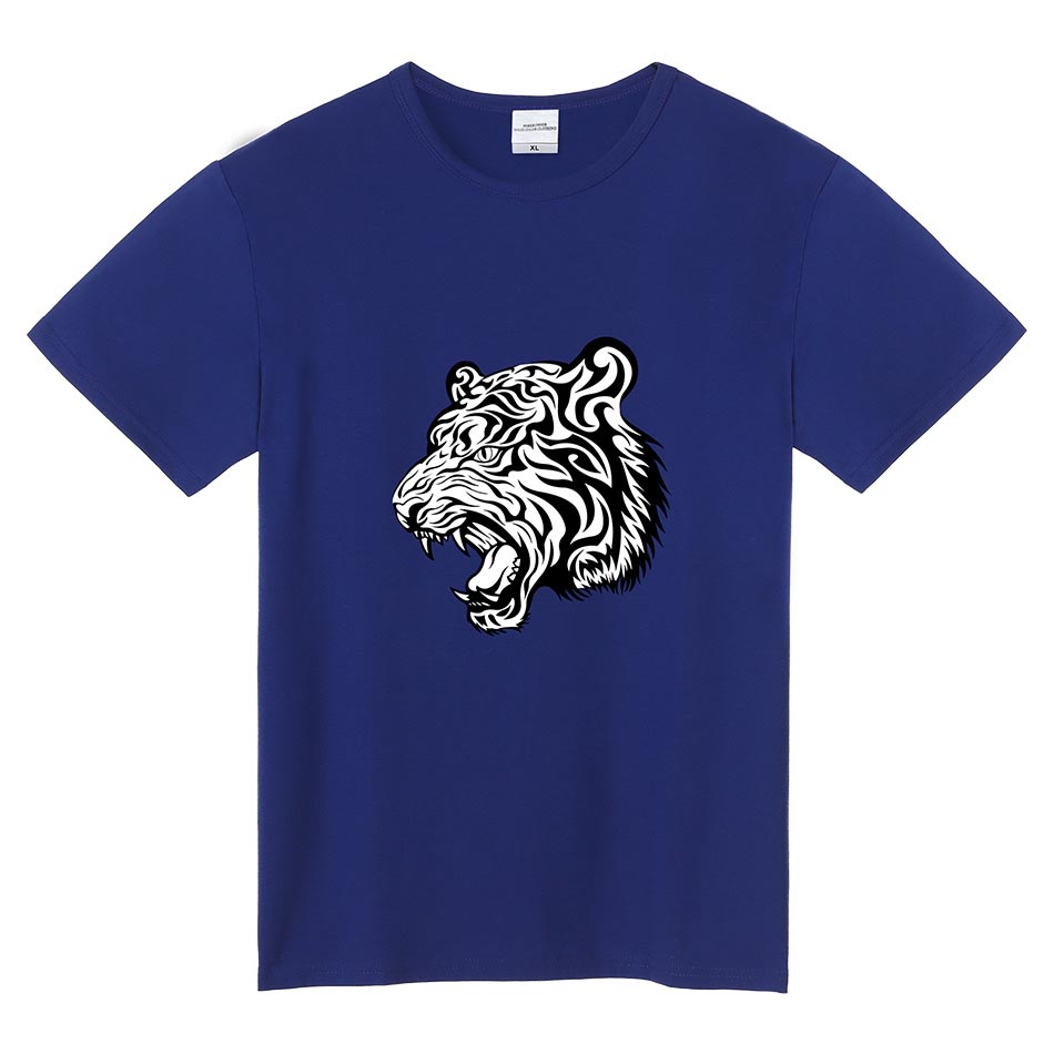 Men 39 s t shirt o neck short sleeve printed tiger casual for Best quality mens white t shirts