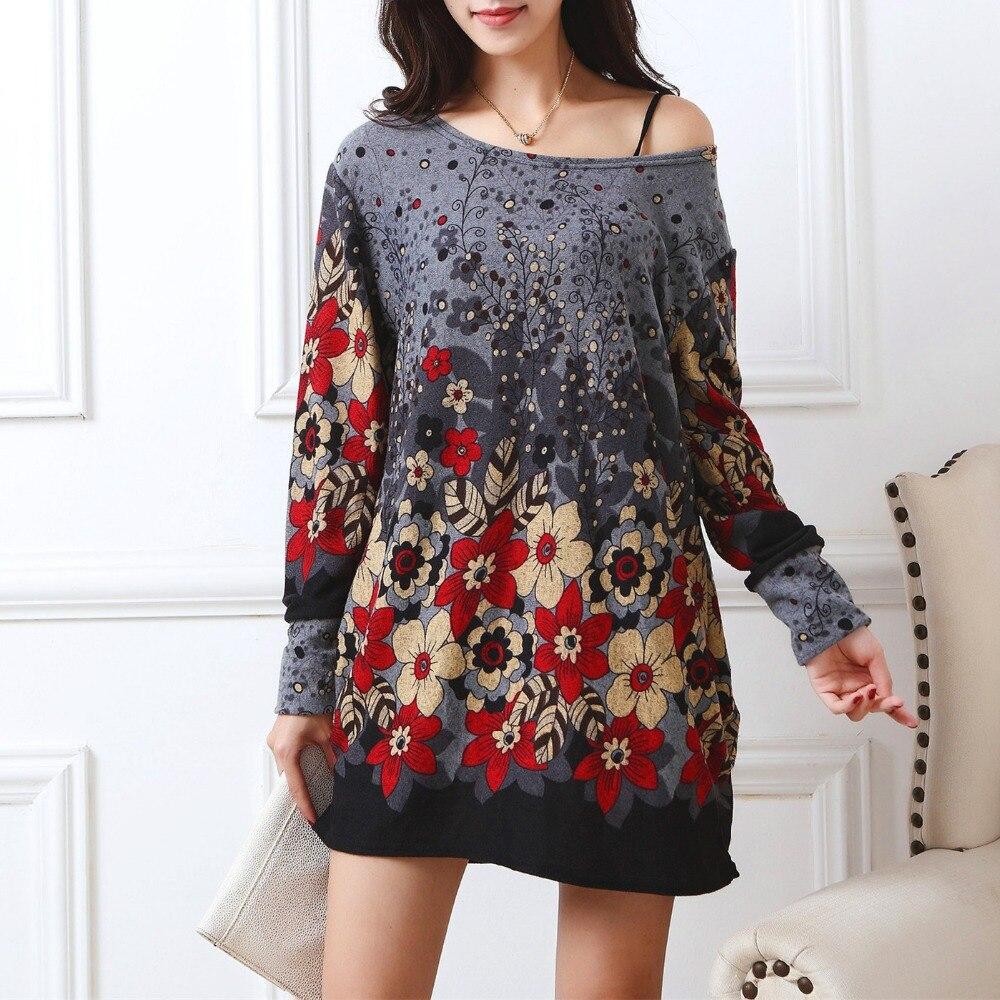 חדש 2017 סתיו חורף נשים מקרית חולצה שרוול ארוך הדפסת צמרות & טיז בתוספת גודל רופף אופנה של גברת 3xl 4xl 5XL כותנה