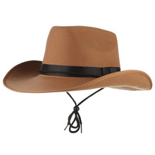 4 Colors Vintage Western Cowboy Hats For Men Wide Brim Sun Visor Cap Sombreros Autumn Winter Felt Hat Male Cowboy Caps