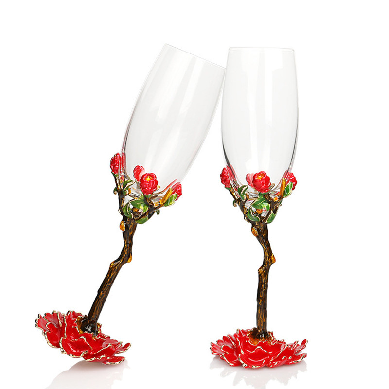 Crystal Champagne Glass Colour Enamels Goblet Fashion Wedding Glass Set China Red Rose Design Red Wine Glass Bar Suppliers 2pcs