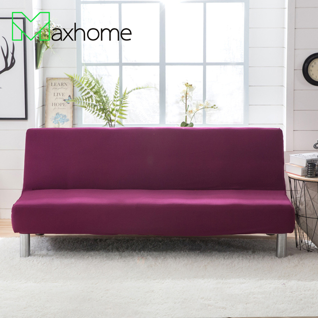 Sofa Bed Cover Elastic Sofa Cover No Armrest Stretch Solid Purple For  Living Room Furniture Protectors