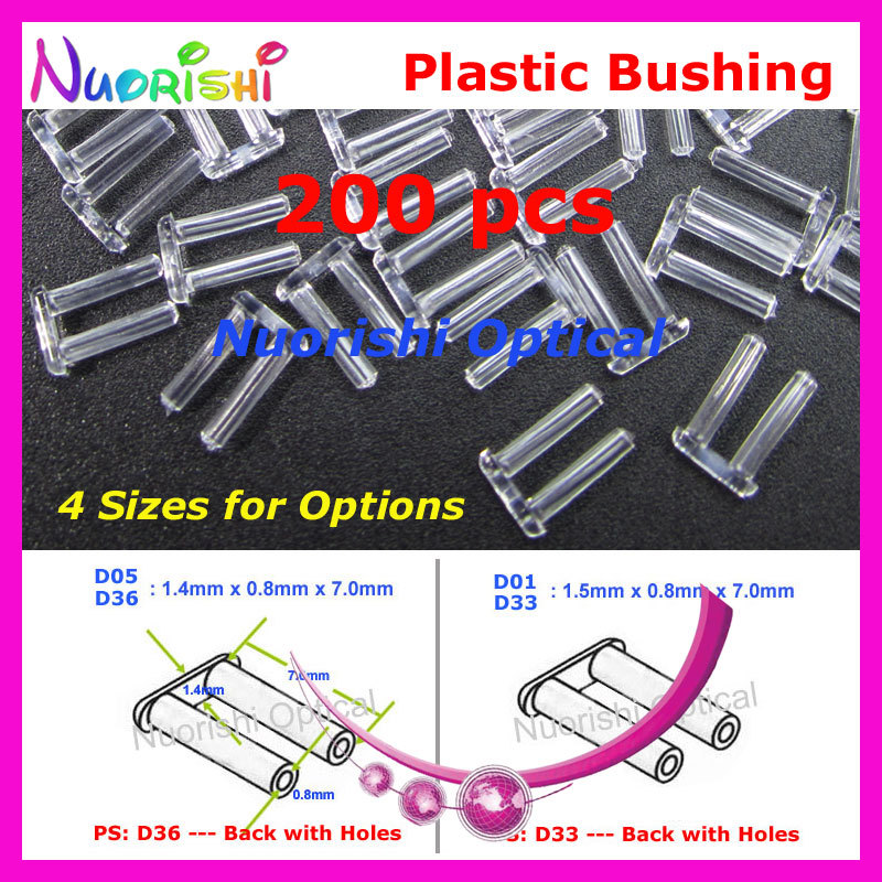 200pcs 1.4 Or 1.5x0.8x7.0mm Plastic Double Bushing Back With Or Without Holes Silhouette Pin Rimless Glasses Accssories P4040