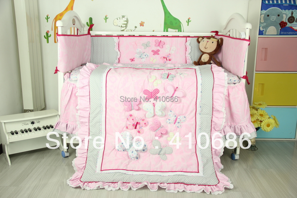 Embroidery Lace Baby Crib Cot Cotton Bedding Sets 6pcs