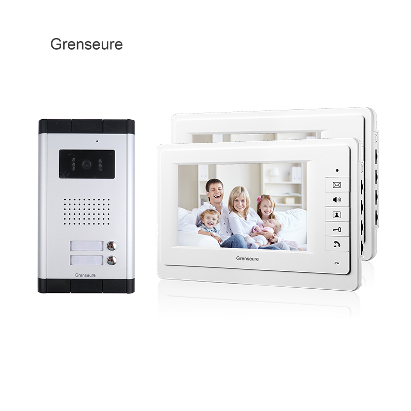 FREE SHIPPING Brand 7 Video Intercom Entry Door Phone System 2 Monitor 1 HD Doorbell Camera for 2 Household Apartment Wholesale