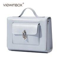 Viewinbox Luxury Handbags Women Bags Designer Small Flat Leather Postman Bag Solid Cross Body Messenger Bag