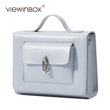 Viewinbox Luxury Handbags Women Bags Designer Small Flat Leather Postman Bag Solid Cross body Messenger Bag