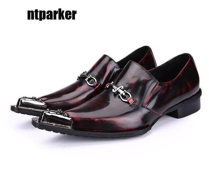 Ntparker Bout Pointu Homme Chaussures De Mariage Robe Formelle Chaussures  En Cuir de Vin Rouge 17012d46cd2