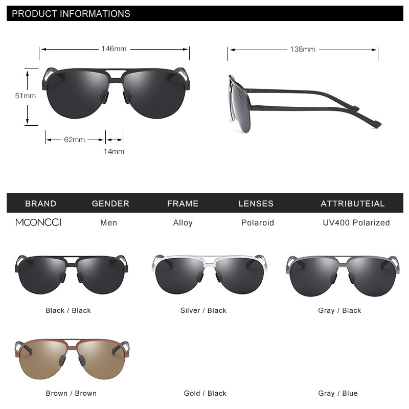 MOONCCI Retro Kacamata Pria Terpolarisasi Aluminium Keren pria - Aksesori pakaian - Foto 4