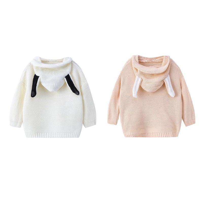 2 T-5 T Reine Farbe Winter Junge Mädchen Dicke Kind Gestrickte Pullover Shirts Nette Kaninchen Ohren Pullover Mit Kapuze Tops Mantel