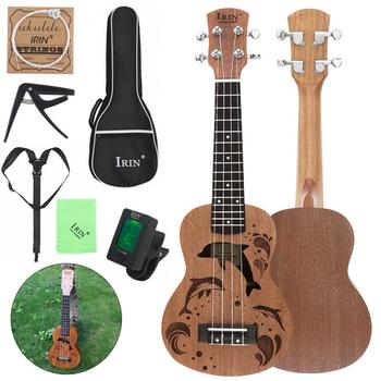 21 Inch Soprano Ukulele Sapele Wood 15 Frets Dolphins Sound Hole Four Strings Guitar with Bag Tuner String Capo Strap Cloth