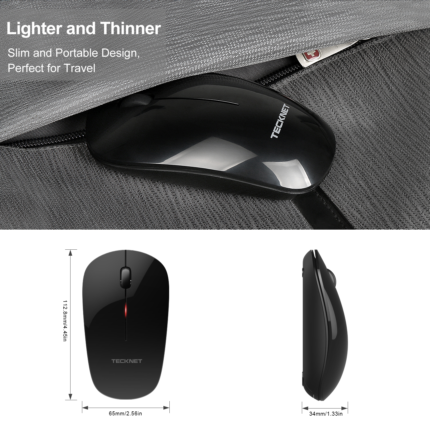 TeckNet Wireless Mouse 2 4GHz Cordless Mice 1200DPI for Laptop PC Computer Windows Mac Linux Vista MacBook USB Nano Receiver in Mice from Computer Office