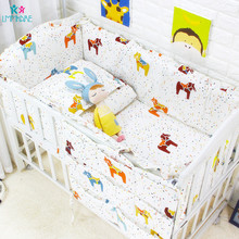 цены Cartoon Cotton Baby Bed Bumpers Pad for Newborn Toddler Bed Bedding Sets Pillowcase Sheet Baby Crib Bumper Cot 6PCS
