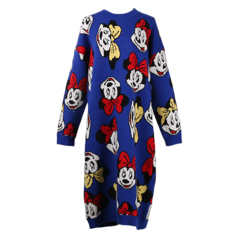 Makuluya Womens Mickey Minnie Mouse Jacquard O-neck Loose Pullover Sweaters Dresses Casual Vintage Mori Female Lazy Style Qw Women's Clothing