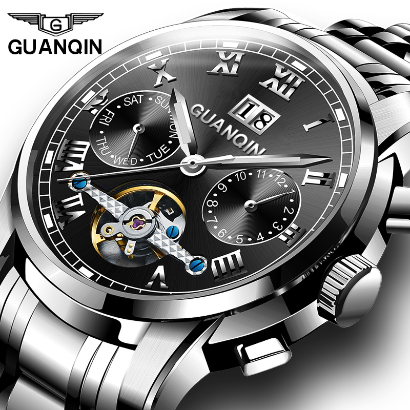GUANQIN Luxury business tourbillon Mechanical Watches men Multifunction automatic watch Calendar Week Luminous skeleton watch цена 2017