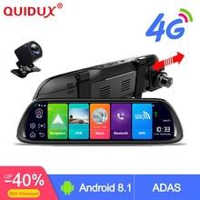 """QUIDUX 4G ADAS Auto DVR Della Macchina Fotografica 10 """"Android 8.1 Media Streaming Rear View Mirror FHD 1080 P WiFi GPS Dash Cam Registrar Registratore Video"""