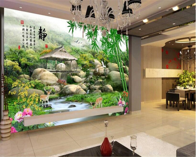 Beibehang Level Wallpaper Custom Size Of The Poetic Meaning Static Word Mood Chinese TV Background Wall Papel De Parede