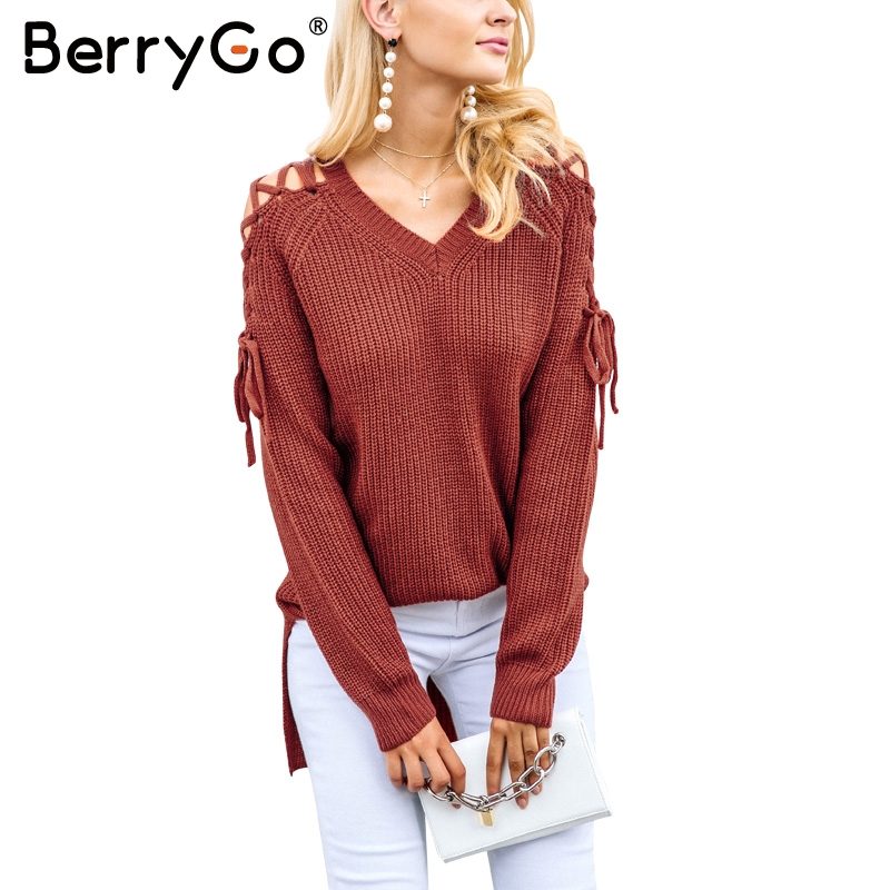 a4b194ab6a Detail Feedback Questions about BerryGo Autumn winter lace up split knitted  sweater Women Sexy long sleeve casual jumper sweater 2017 hollow out female  ...