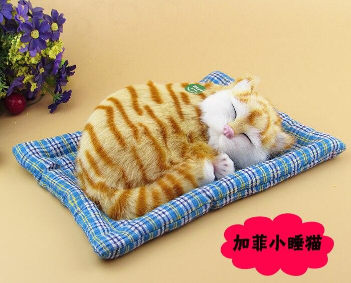 simulation cat ,furry fur brown cat about 25x20cm sound miaow cat model car ornament decoration gift h1309