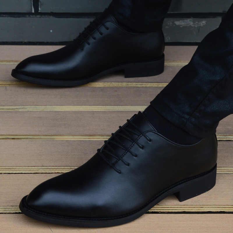 3f6e2cf94 Новые мужские кожаные туфли высокого качества с острым носком, деловые мужские  туфли, Повседневные Дышащие