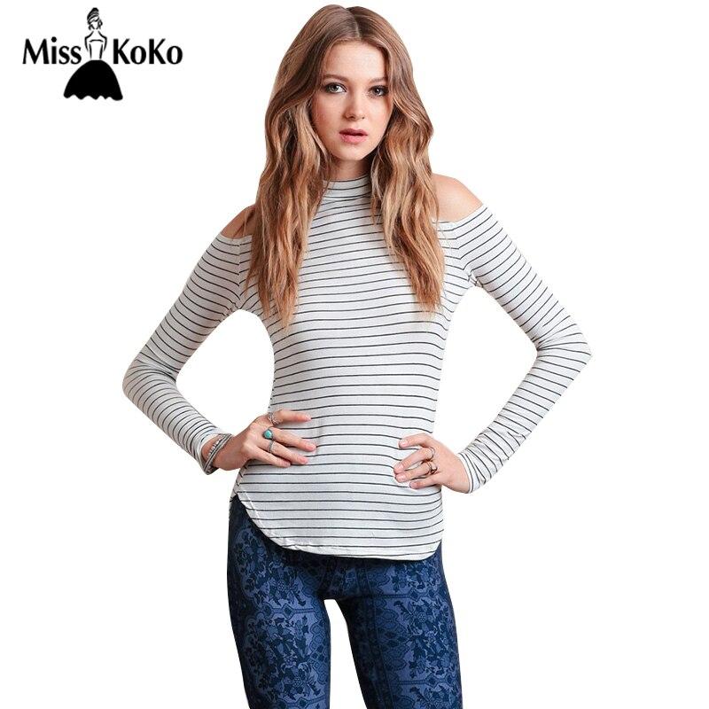 5de2c43ac14c0 MissKoKo Casual Sexy Chic Women T shirt Black White Stripe Cold Shoulder  Curve Hem Slim Top Autumn Cut Out Long Sleeve T shirt-in T-Shirts from  Women s ...