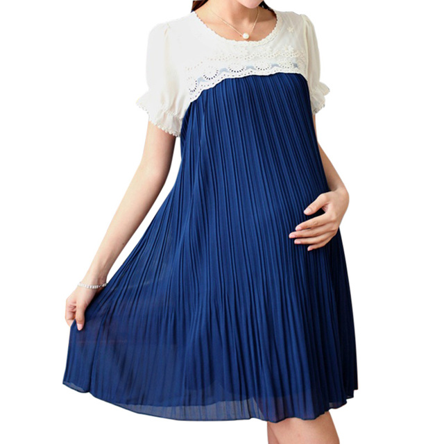 Hot Sales Plus Size Casual Maternity Dress Chiffon Pleated Maternity Clothing Clothes For Pregnant Women Asian Size M-2XL