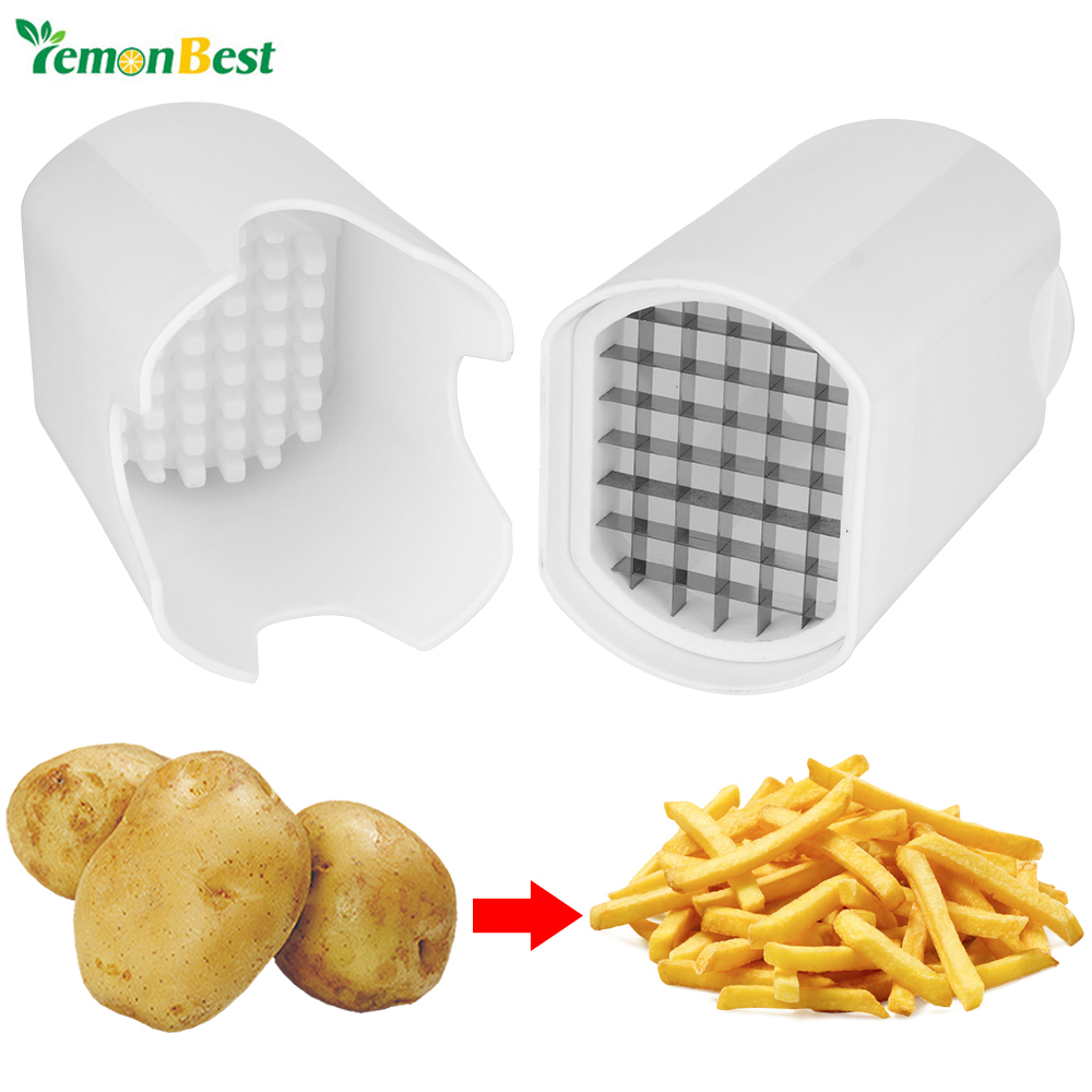 One Step French Fry Potato Cutter Fruit Vegetable Chopper Onion Chipper Kitchen Tool With Stainless Steel Blades Safer And Conve