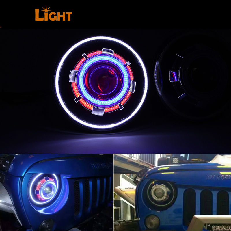 2pcs 7 Inch 30W demon eye led Headlight Hi/Lo Beam Headlamp with Evil Eyes for 2007-17 Jeep Wrangler JK 2pcs new design 7inch 78w hi lo beam headlamp 7 led headlight for wrangler round 78w led headlights with drl