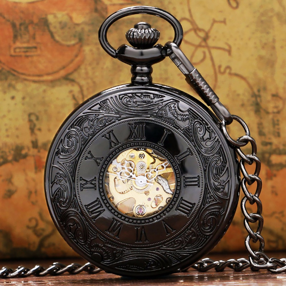 Roman Numerals Display Mechanical Pocket Watch Hand-Wind Hollow Skeleton Punk Pocket Pendant Watch Gifts For Men Vintage Black