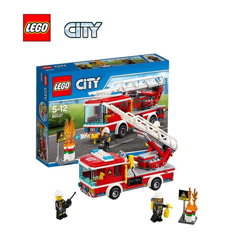 ФОТО LEGO City Fire Ladder Truck Architecture Building Blocks Model Kit Plate Educational Toys For Children LEGC60107