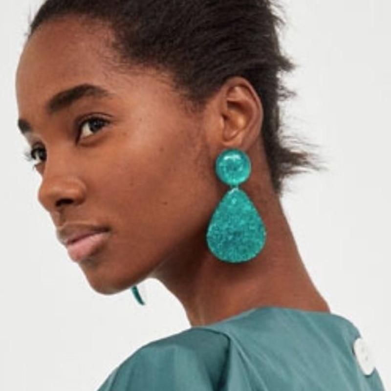 Best lady New Bohemian Multicolored Resin Drop Earrings Fashion Jewelry Vintage Statement Women Cheap Dangle Earrings Wholesale
