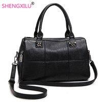 Shengxilu Genuine Leather Women Handbag Spring Female Shoulder Bag Fashion Ladies Totes Big Brand Ipad Black
