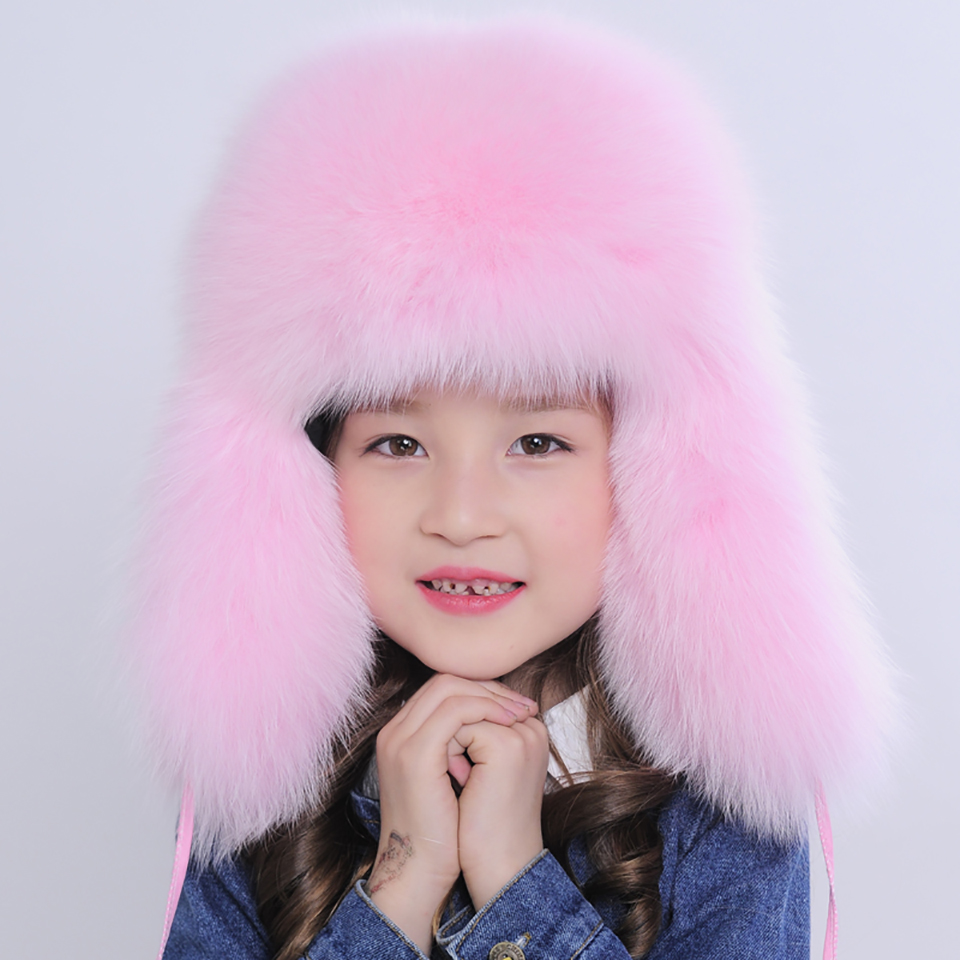 2016 Baby Fox Fur Winter Warm Hat Fashion Ears Protector Hats for Boys Girls Earflap Caps with Ball for Child Kids LS07B