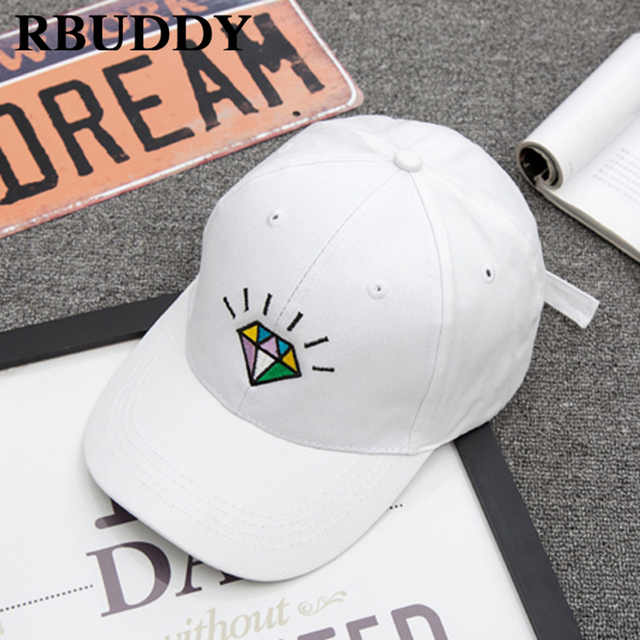 024f22ff5da RBUDDY 2018 Solid Cute Baseball Caps Diamond Hip Hop Snapback Cotton Casual  Summer Dad Hat for Women Men Outdoor Adjustable Hat