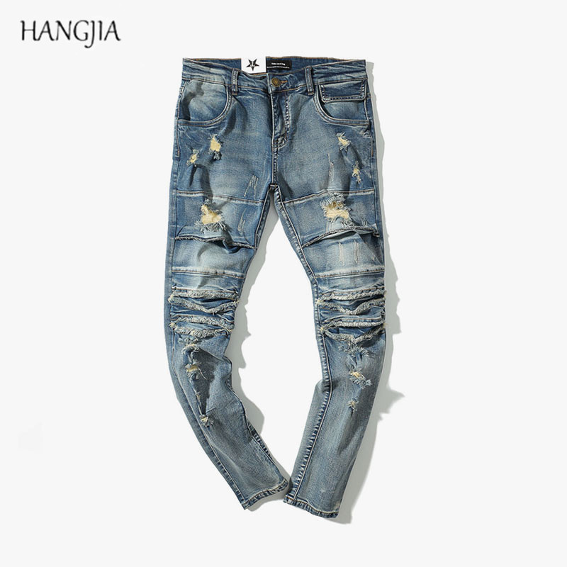 Streetwear Distressed Ripped Biker Jeans Mens Washed Destroyed Skinny Denim Pants Fashionable Trend Blue Slim Fit Hole Jean Male