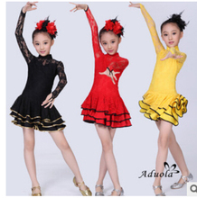 Free shipping black red yellow rumba latin dance  dress headwear tango samba 100-150cm professional girl child dress costume
