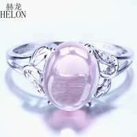 Solid 10k White Gold Flawless Oval 2.87ct 100% Genuine Pink Quartz Ring Natural Diamonds Ring Women Romantic Gift Fine Jewelry