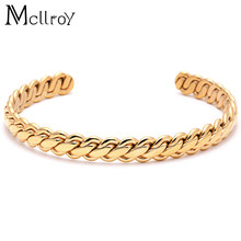 Mcllroy New Antique Silver Titanium Steel Cuff Bangle For Women Men Twisted Bracelets & Bangles Femme Fashion Jewelry(China)