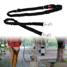 Black Pet Dog Leash Adjustable Hands Free With Waist Belt For Jogging Walking Running Sports Training Collar Supplies