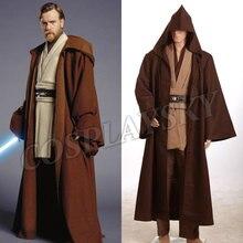 Star Wars Obi Wan Kenobi Jedi Cosplay Costume New Tunic Brown Cloak Halloween Uniform Man's Robe Set