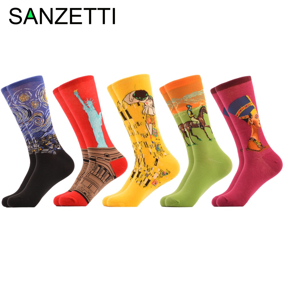 SANZETTI 5 pairs/lot Mens Combed Cotton Crew Socks Blue Star Night Funny Casual Socks Novelty Gift for Man Christmas