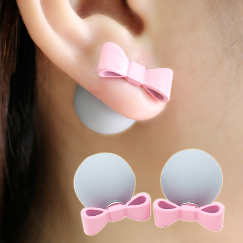Cute Romantic Bowknot Ball Earrings Simulated Pearl Bow Tie Stud Earring Lovely Multicolor Aretes Double Side