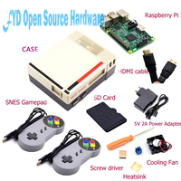 1set NES Case with Raspberry Pi 3+16G Card+Fan+2pcs SNES Gamepad+EU Power Adapter+Heatsink+ Cable