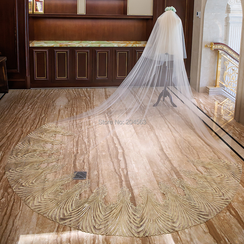 Two Layer Wedding Veil with Gold Wave Appliques Unique Long Bridal Veils with Comb AX2019