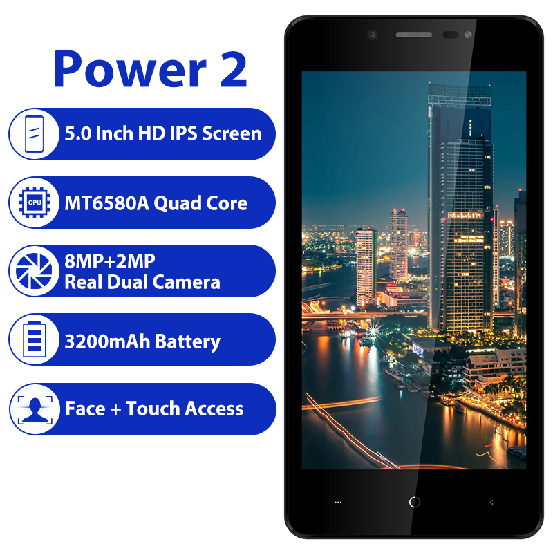 """Image 2 - LEAGOO POWER 2 Mobile Phone Android 8.1 5.0""""HD IPS 2GB RAM 16GB ROM MT6580A Quad Core Dual Camera Fingerprint ID 3G Smartphone-in Cellphones from Cellphones & Telecommunications"""