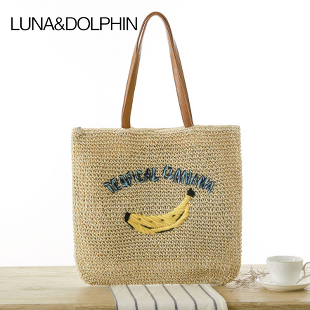Luna Dolphin Summer Designer Ping Tote Beach Bag Knitted Straw Handbags Banana Embroidery Shoulder Woven Travel