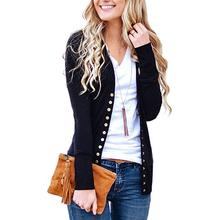 Yiwa Women Solid Color V-neck Long-sleeve Button Jacket Short Casual Coat Long Sleeve Outerwear Ladies Tops Plus Size